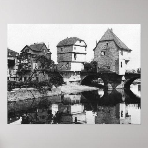 Nahe Bridge, Bad Kreuznach, c.1910 Poster