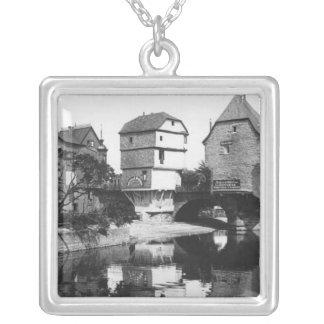 Nahe Bridge, Bad Kreuznach, c.1910 Square Pendant Necklace