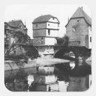 Nahe Bridge, Bad Kreuznach, c.1910 Square Sticker
