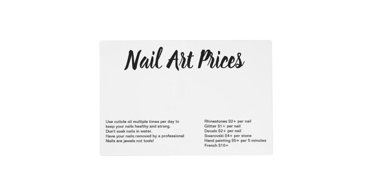 Nail art prices table matt placemat | Zazzle.com