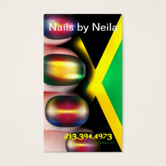 Nail Artist Jamaica Flag Business Card