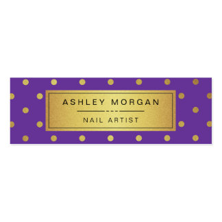 Nail Artist Mini Card - Purple White Gold Dots Double-Sided Mini Business Cards (Pack Of 20)