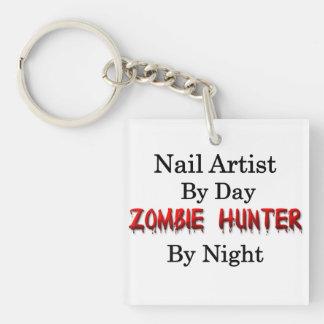 Nail Artist/Zombie Hunter Single-Sided Square Acrylic Keychain