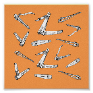 Nail clippers in Orange Illustrated Art Poster