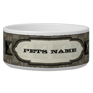 Nail head Driftwood Paw Print Personalized Dog Bowl