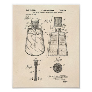 Nail Polish Applicator 1963 Patent Art Old Peper Poster