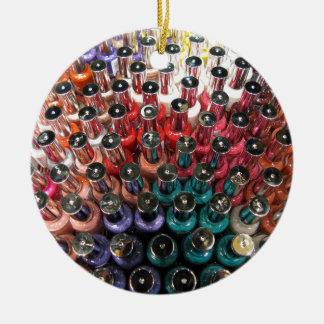 Nail Polish Bottles Double-Sided Ceramic Round Christmas Ornament