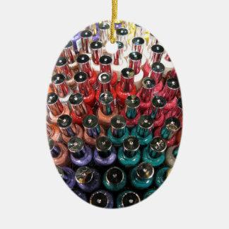 Nail Polish Bottles Double-Sided Oval Ceramic Christmas Ornament