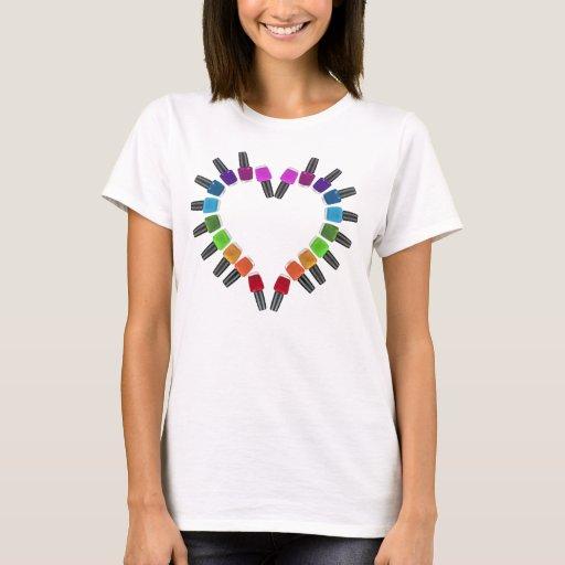 Nail polish heart t shirt zazzle for Polish t shirts online