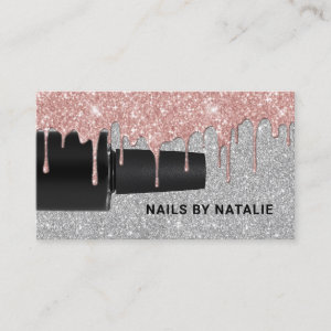 Nail Polish Rose Gold Drips Silver Manicurist Business Card