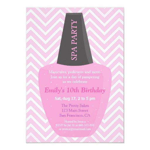 Nail Polish Spa Girls Birthday Party Invitations | Zazzle