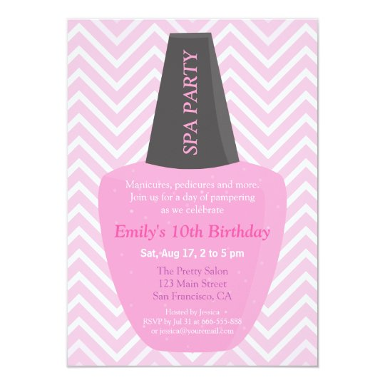 Nail Polish Spa Girls Birthday Party Invitations Zazzlecom
