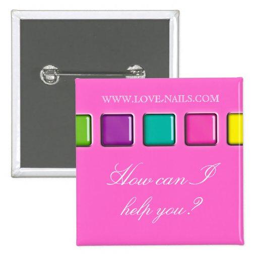 Nail Salon Beauty Name Tag Button Brooch Palette P Zazzle