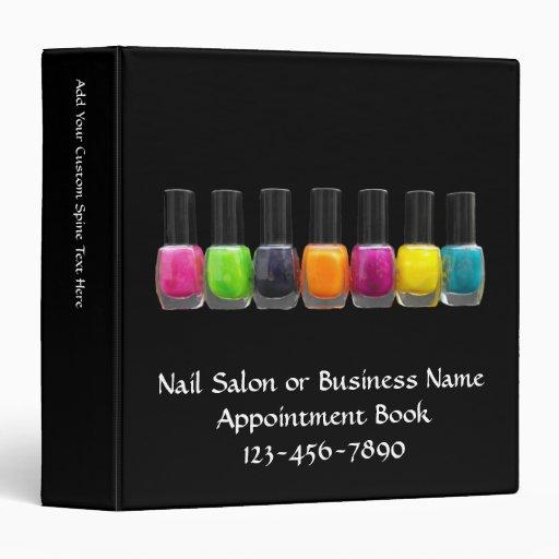 Nail Salon Business, Bright Polish Bottles 3 Ring Binders