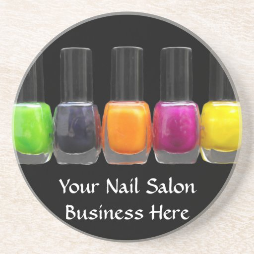Nail Salon Business, Bright Polish Bottles Beverage Coasters