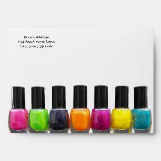 Nail Salon Business, Bright Polish Bottles Envelope