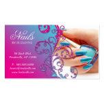 Nail Salon Business Card Glitter Blue Pink