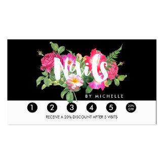 Nail Salon Floral Script Text Black Loyalty Card
