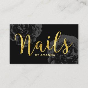 Nail salon business cards zazzle nail salon gold script elegant black floral business card colourmoves