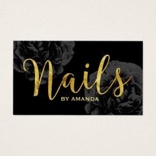 Nail salon business cards templates zazzle nail salon gold script elegant black floral business card colourmoves
