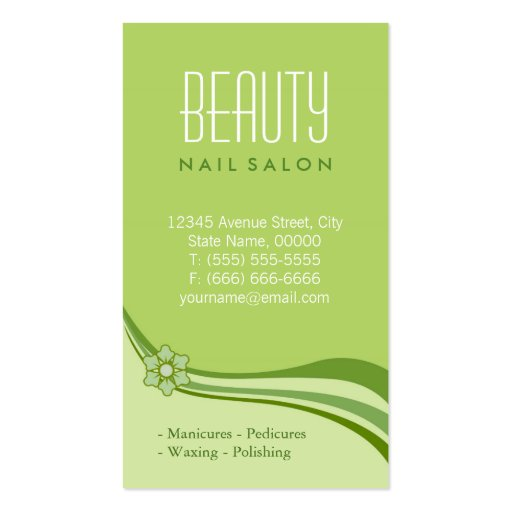 Nail Salon Manicure SPA Nature Green Floral Classy Business Card (back side)