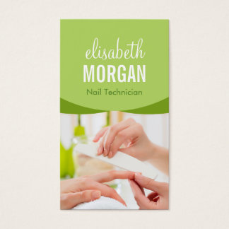 Nail Salon Manicure SPA Nature Green Floral Classy Business Card