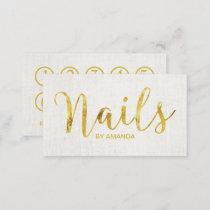 Nail Salon Manicurist Gold Script Loyalty Punch