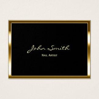 Nail Salon Modern Gold Framed Elegant Makeup Business Card