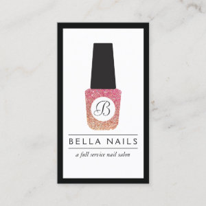 Nail Salon Monogram Glitter Nail Polish Business Card