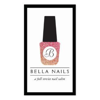 Nail Salon Monogram Glitter Nail Polish Business Card
