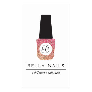 Nail Salon Monogram on Bronze Glitter Nail Polish Double-Sided Standard Business Cards (Pack Of 100)