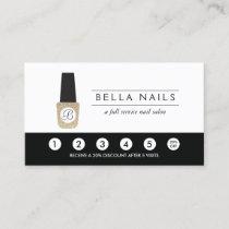 Nail Salon Monogram on Gold Glitter - Loyalty Card