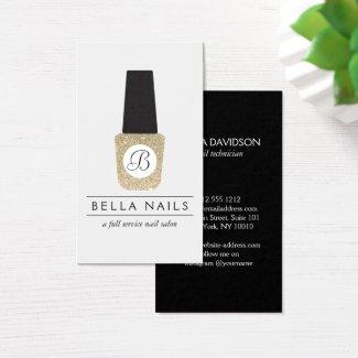 Nail Salon Monogram on Gold Glitter Nail Polish Business Card