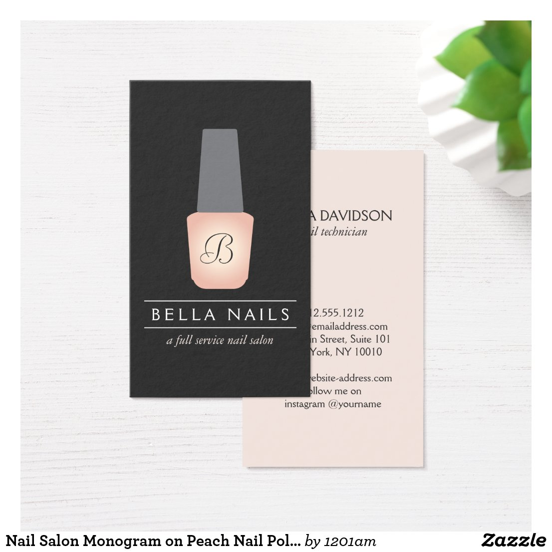 Nail Salon Monogram on Peach Nail Polish Business Card
