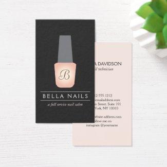 Nail Salon Monogram on Peach Nail Polish Business Card