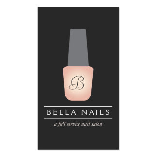 Nail Salon Monogram on Peach Nail Polish Double-Sided Standard Business Cards (Pack Of 100)