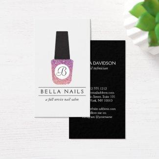 Nail Salon Monogram on Purple Glitter Nail Polish Business Card