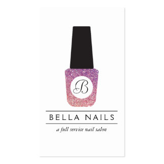 Nail Salon Monogram on Purple Glitter Nail Polish Double-Sided Standard Business Cards (Pack Of 100)