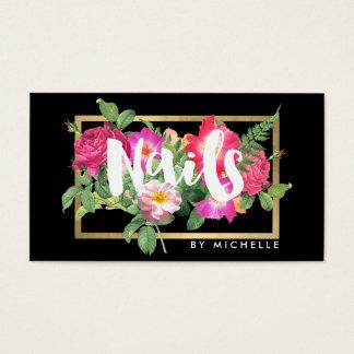 Nail Salon, Nail Artist Floral Script Text Black Business Card