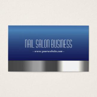 Nail Salon Navy Blue Silver Border Modern Business Card