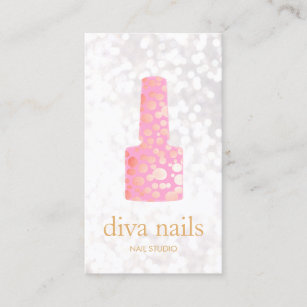 Nail salon business cards templates zazzle nail salon pink nail white bokeh manicurist business card colourmoves