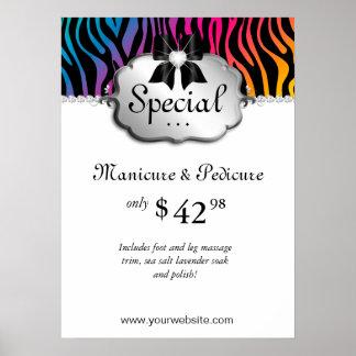 Nail Salon Poster Zebra Rainbow Hair