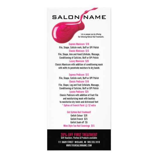 Nail Salon Price List Rack Cards | Zazzle