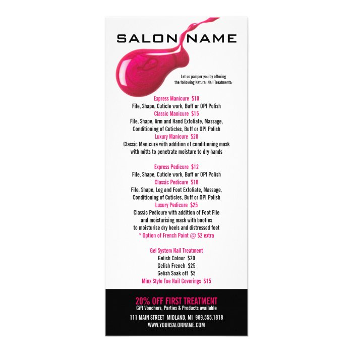 Nail salon price list rack cards zazzle for A list nail salon