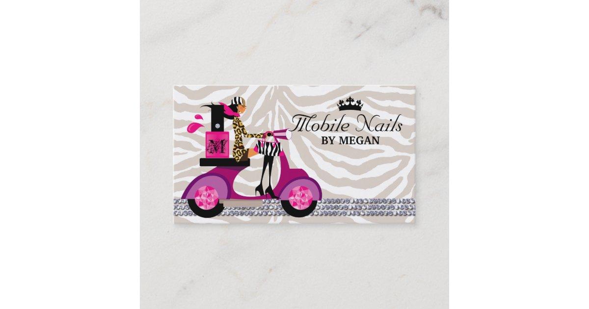 Nail Salon Scooter Girl Fashion Business Card Blac Zazzle Com