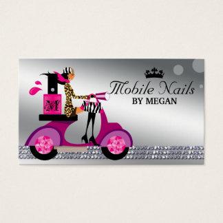 Nail Salon Scooter Girl Fashion Modern Silver Business Card