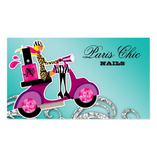 Nail Salon Scooter Girl Glitter Polish Swirls Business Card Template