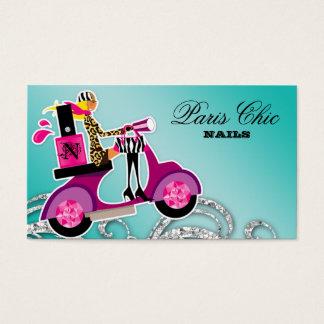 Nail Salon Scooter Girl Glitter Polish Swirls Business Card