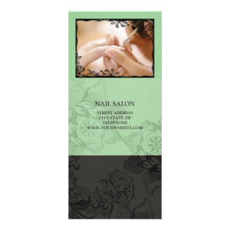 Nail Salon Services Price List {Mint Green} Full Color Rack Card
