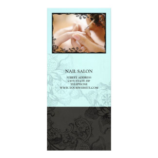 Nail Salon Services Price List {Teal Blue} Customized Rack Card